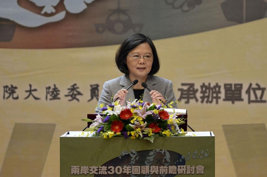 Taiwan's President Tsai Ing-wen speaks during a conference between Taiwan and China relations organized by Taiwan's Mainland Affairs Council (MAC) in Taipei on Oct 26, 2017.