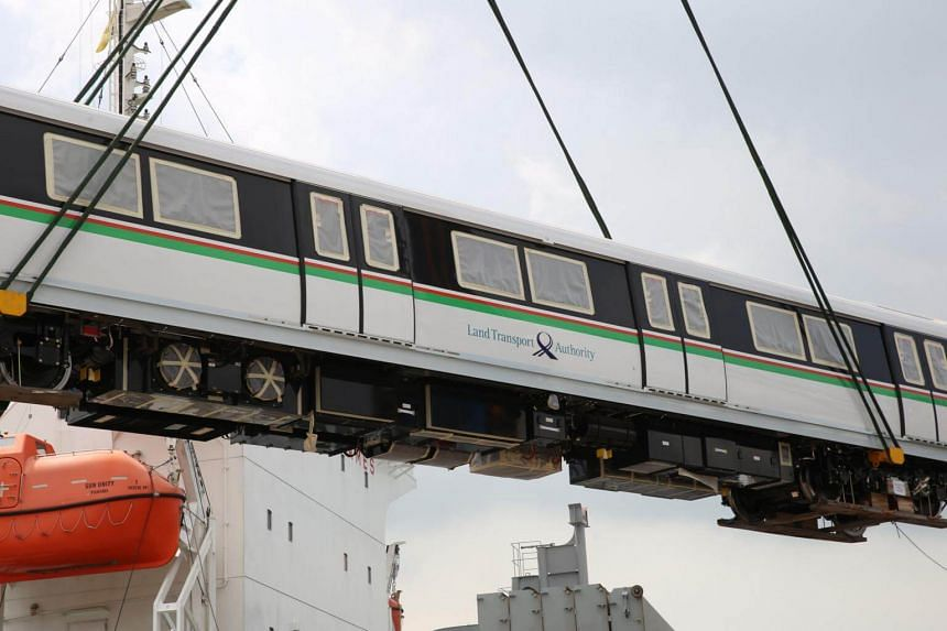 The 12 trains are the final batch of 57 new trains that are being put into service progressively on Singapore's oldest and most heavily-used MRT lines, which are 30 years old.