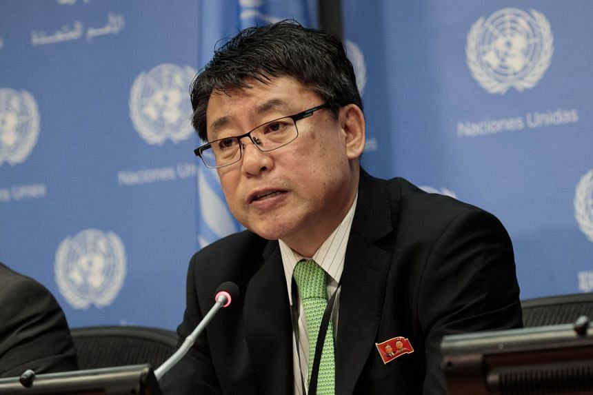 Ambassador Kim In Ryong, Deputy Permanent Representative to the United Nations for the Democratic People's Republic of Korea (North Korea), speaks during a press conference at the United Nations.