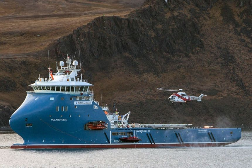 The ship of the governor of Svalbard, the Polarsyssel (above, in a file photo), is coordinating the search.