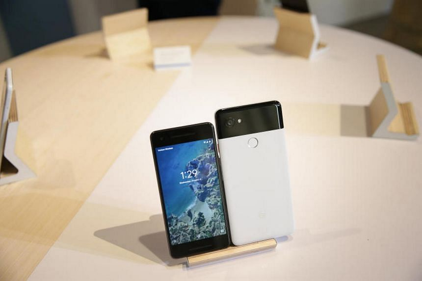 The new Pixel 2 and Pixel 2 XL smartphones are seen at a product launch event in San Francisco.