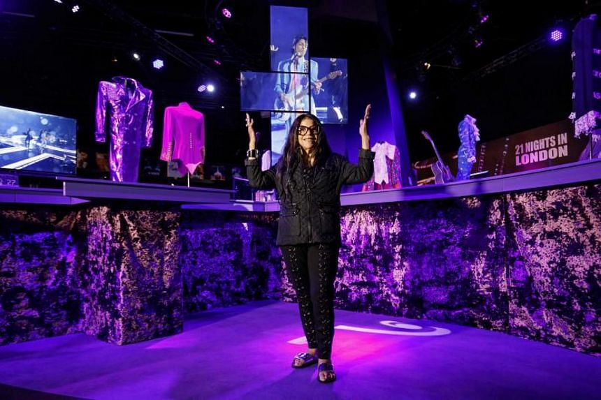 Tyka Nelson, sister of US singer-songwriter Prince, poses during a press preview of the My Name Is Prince exhibition, at the O2 Arena in London.