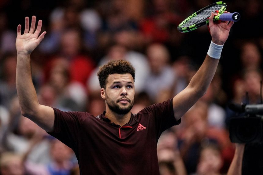Tsonga reacts after defeating Alexander Zverev of Germany during their quarter final match of the Erste Bank Open.