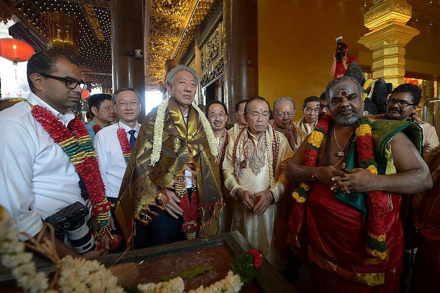 Over 5,000 devotees attended yesterday's consecration of the refurbished Hindu sanctum of the multi-religious Loyang Tua Pek Kong temple. Sixteen new idols of the various forms of the Sri Maha Ganapathy deity have been installed. The temple also hous