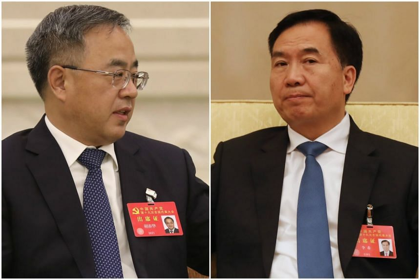 Mr Li Xi (right) will no longer serve as party secretary of Liaoning province after he takes over from Mr Hu Chunhua.
