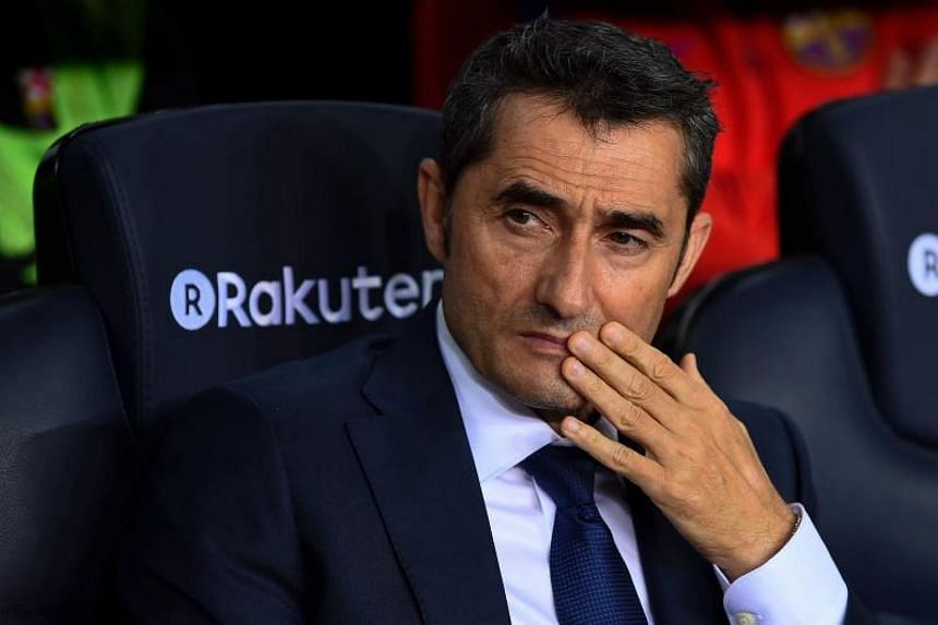 Barcelona's coach Ernesto Valverde reacts during the Spanish league football match FC Barcelona vs Malaga CF.