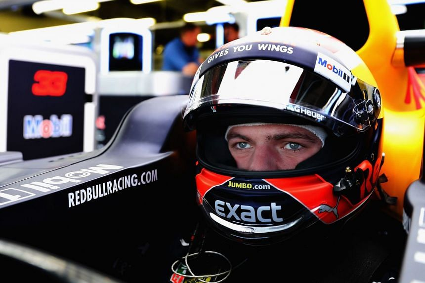 Verstappen prepares to drive in the garage during practice for the Mexican grand prix.