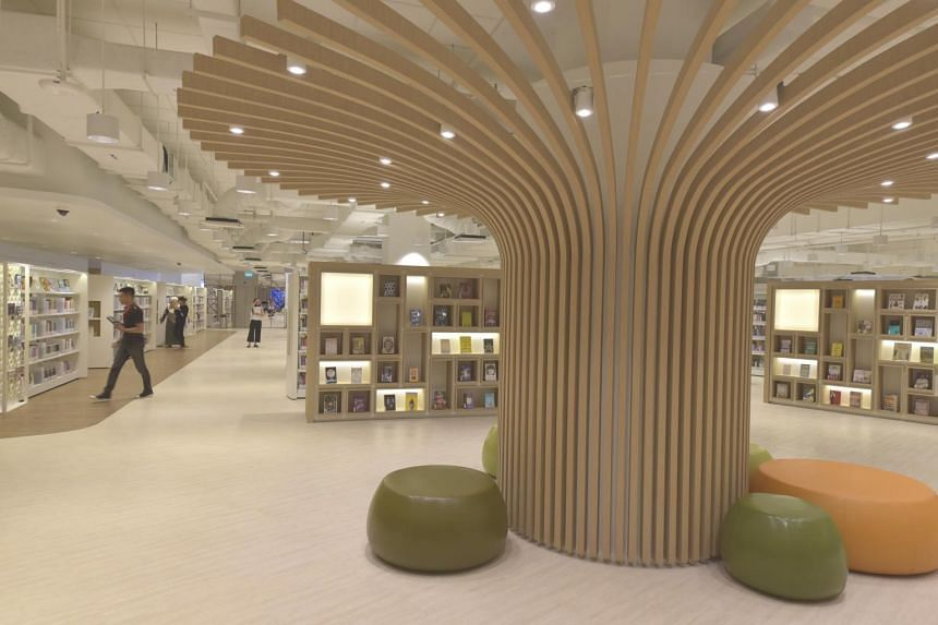 A tree-shaped structure in the new Bedok Public Library located at Heartbeat@Bedok.