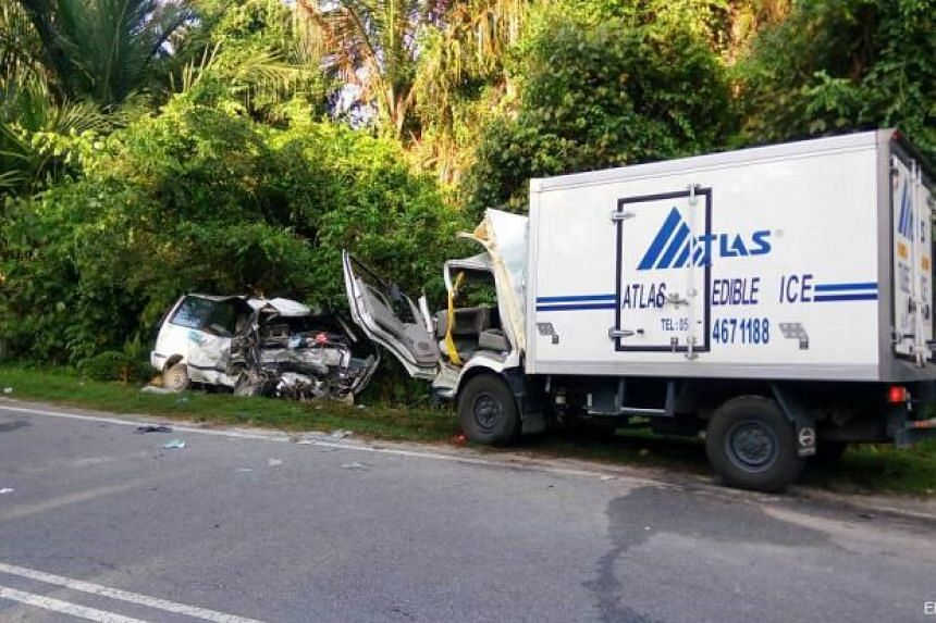Police received a call at 6.42am that a truck had crashed into a van.