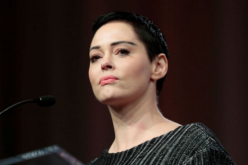 Rose McGowan addresses the audience at the Women's Convention in Detroit, Michigan, Oct 27, 2017.