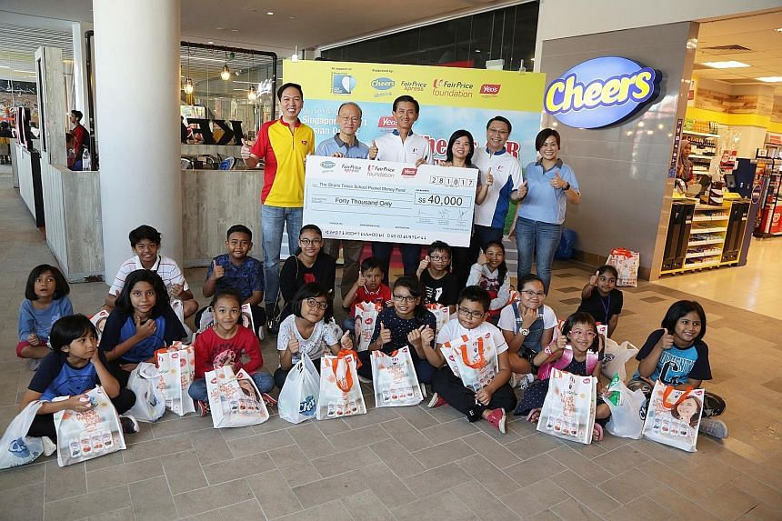 FairPrice Foundation, Yeo Hiap Seng and convenience store chain Cheers yesterday made a joint donation of $40,000 to The Straits Times School Pocket Money Fund (STSPMF), which helps socially disadvantaged school-going children pay for their lunch and