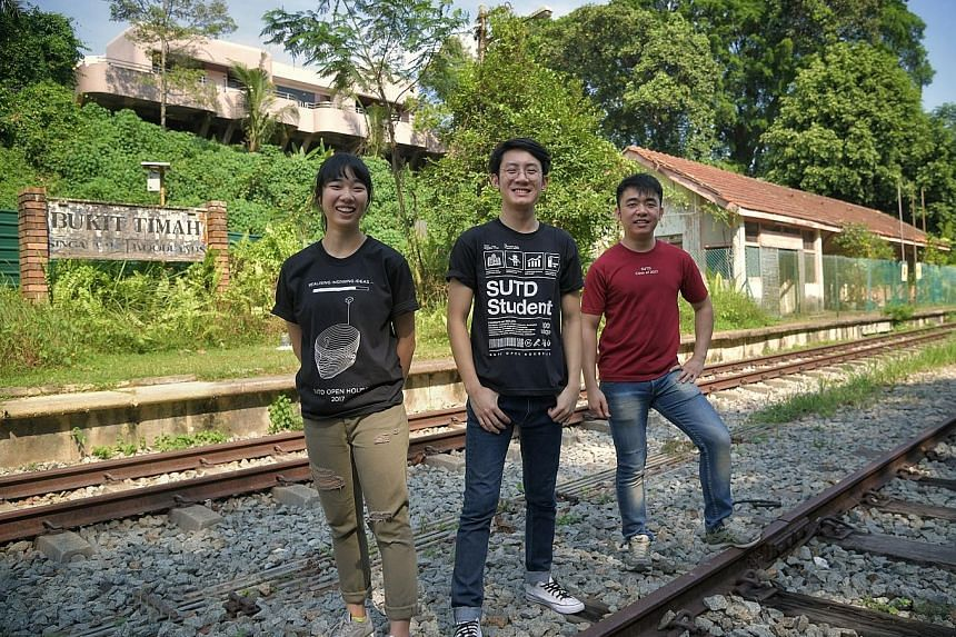 Above: The former station master's office. Left: Dr Yeo Kang Shua, who led the SUTD students in their projects, at the Bukit Timah Railway Station. A total of 31 SUTD students, including (from left) Ms Chiang Yan Yan, 22, Mr Kwang Guo Chuan, 24, and