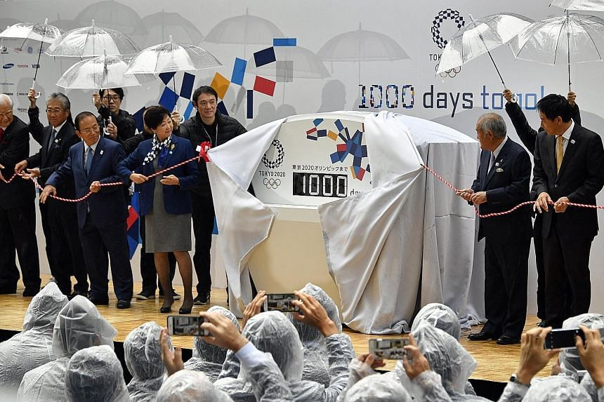 Tokyo Governor Yuriko Koike taking part in the unveiling of a display counting down the number of days to the 2020 Olympics in the Japanese capital. Events were also held in other parts of Japan to build up excitement for the games. Tokyo first hoste