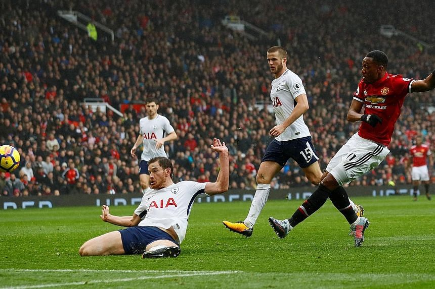 Manchester United forward Anthony Martial escaping the attention of Tottenham defender Jan Vertonghen to score his 81st-minute winner. This was United's 10th goal in the last 10 minutes of league games this season.