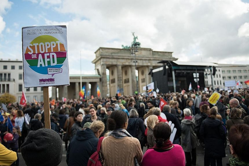 Protesters demonstrating against the presence of the Alternative for Germany party in the Bundestag, or Lower House of Parliament, in Berlin last Sunday.