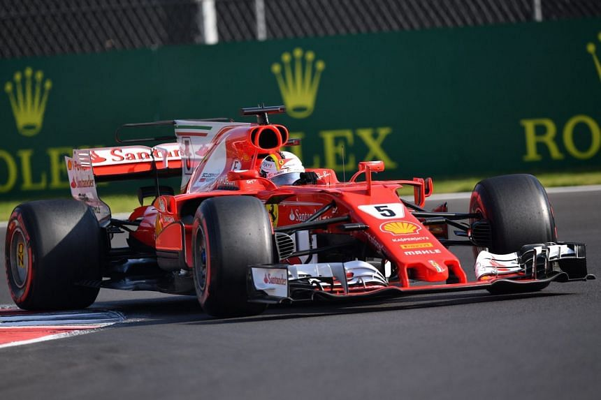 Vettel driving during the third practice session of the F1 Mexico Grand Prix.