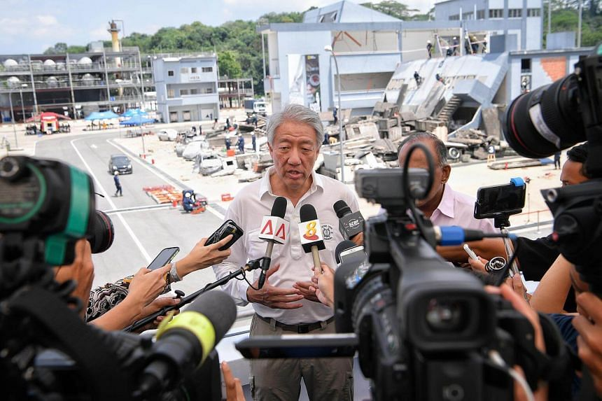 Deputy Prime Minister Teo Chee Hean speaks to the media after Exercise Northstar 10 (Phase 2), at the Home Team Tactical Centre.