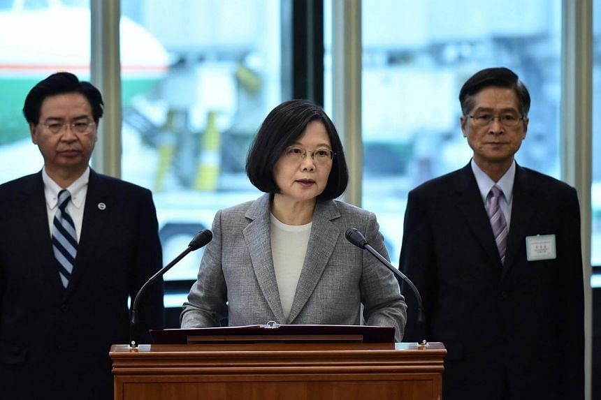 President Tsai Ing-wen (centre) making a speech before departing to visit three South Pacific allies at the Taoyuan International Airport in Taoyuan County, Taiwan.