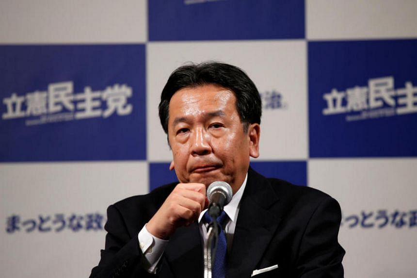 Constitutional Democratic Party of Japan leader Yukio Edano speaking at a news conference in Tokyo on Oct 22, 2017.