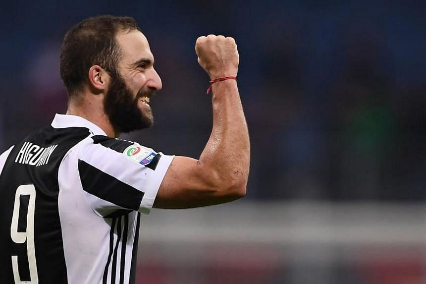 Juventus forward Gonzalo Higuain celebrating at the end of the Serie A football match against AC Milan on Oct 28, 2017.