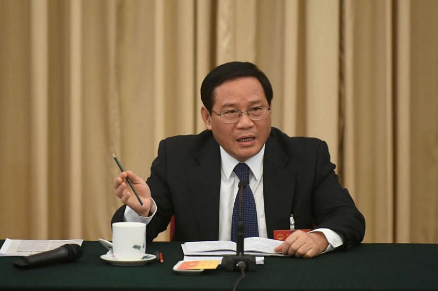Mr Li Qiang speaking during the National People's Congress in Beijing on March 7, 2017.