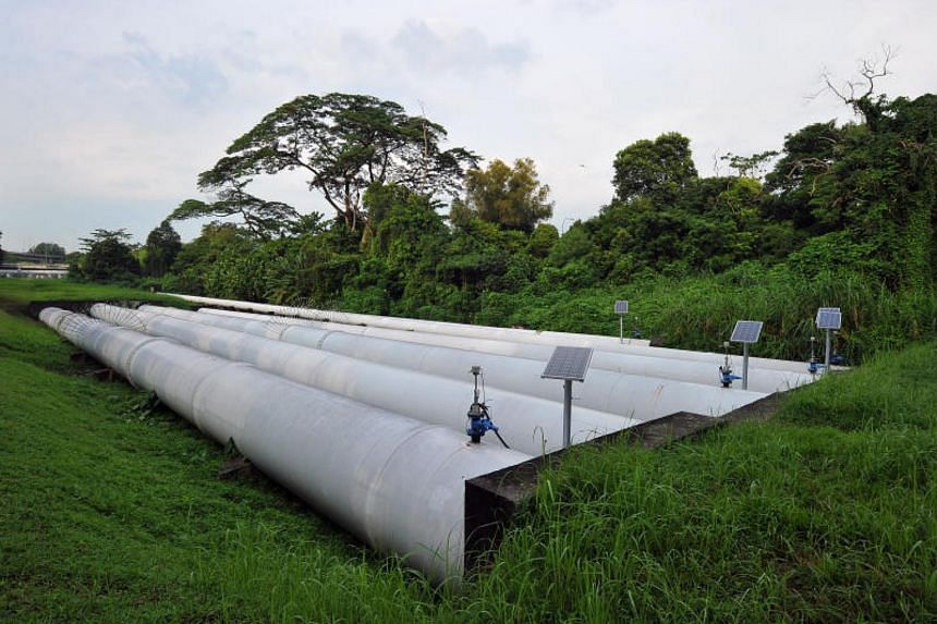 Pipes used to transport water from the Johor River Waterworks to Singapore. Operations at the waterworks were stopped temporarily because of pollution in the Johor River.