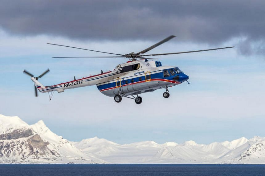 The wreck of a Russian Mil Mi-8 helicopter that went missing (pictured) was found on the Arctic seabed, said Norwegian rescue services on Oct 29, 2017.
