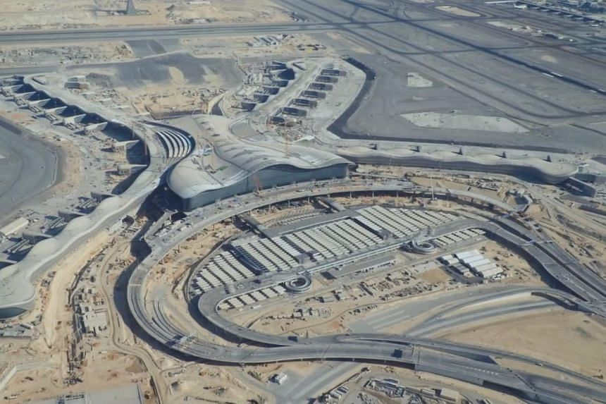 A screengrab from a video showing construction work at Abu Dhabi International Airport's new Midfield Terminal.