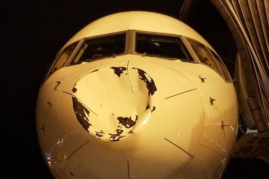 Dramatic images posted by Thunder players on social media showed the nose of their jet caved in.