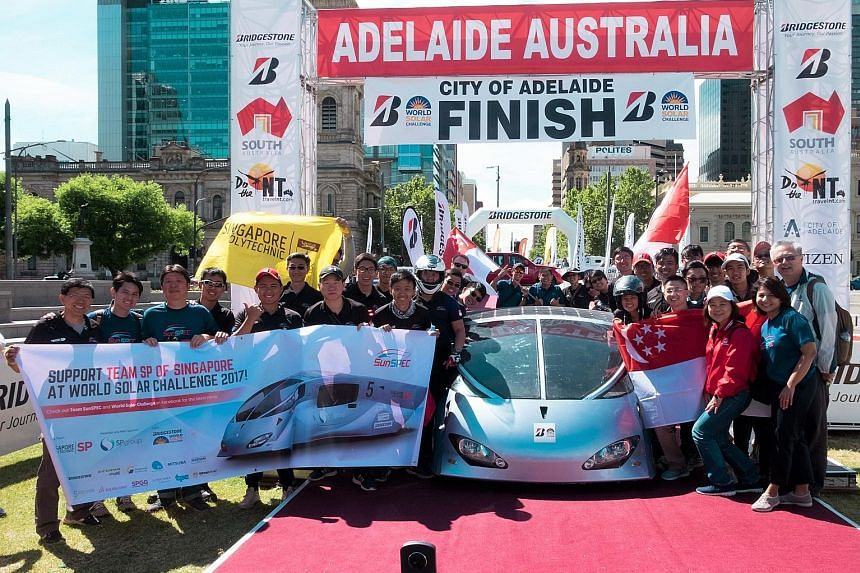 Singapore Polytechnic's team at the finish line in Adelaide with its car, SunSPEC5. There were nine checkpoints, excluding the start and finish points, in the 2017 World Solar Challenge that covered 3,000km. The team, the only entry from Singapore an