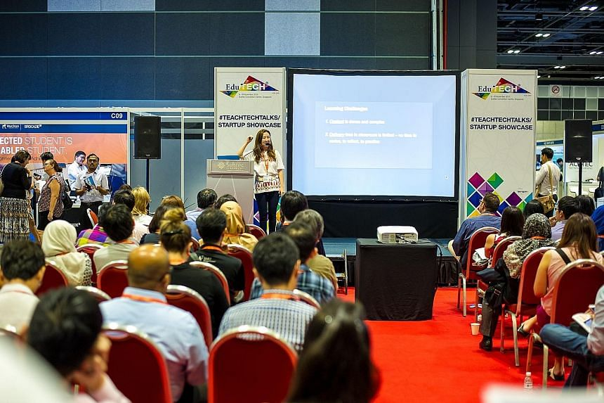An educator sharing her insights at last year's EduTech Asia. This year's edition will feature keynote sessions on eight content tracks - such as special needs and early childhood - for conference pass holders.