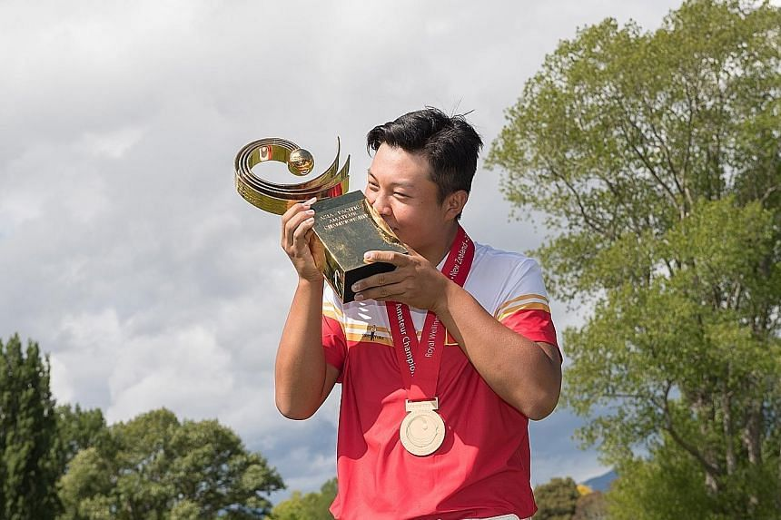 China's Lin Yuxin savouring success at the Asia-Pacific Amateur Championship in Wellington after shooting a six-under 65 to win by three strokes.