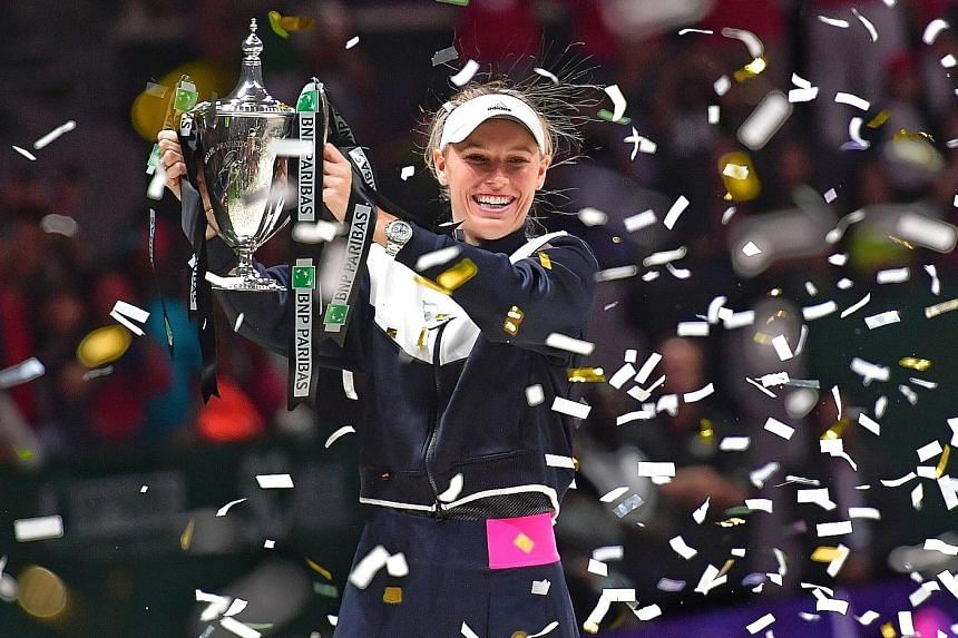 Caroline Wozniacki chose the eighth time - and the grandest occasion of them all - to post her first victory over Venus Williams. The world No. 6 beat her No. 5-ranked opponent 6-4, 6-4 yesterday to win this year's BNP Paribas WTA Finals Singapore pr