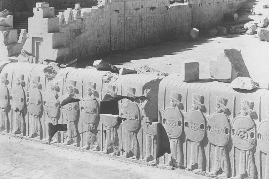 A 1933 photograph of an excavation of the ruins of Persepolis in Iran.