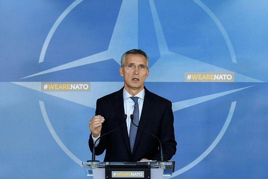 Nato Secretary General Jens Stoltenberg gives a joint press on Russia at the Nato headquarters in Brussels.