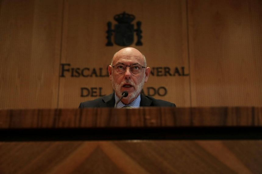 Spain's Attorney-General Jose Manuel Maza at the State Prosecutor office in Madrid, Spain, on Oct 30, 2017.
