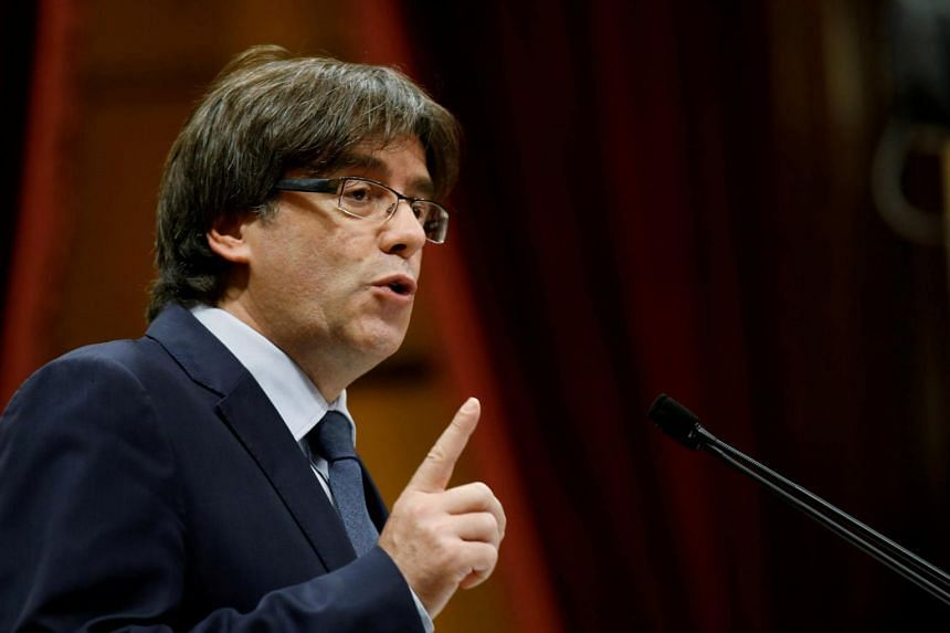 Mr Carles Puigdemont and other Catalonian leaders are in Brussels to make a declaration on Monday (Oct 30).