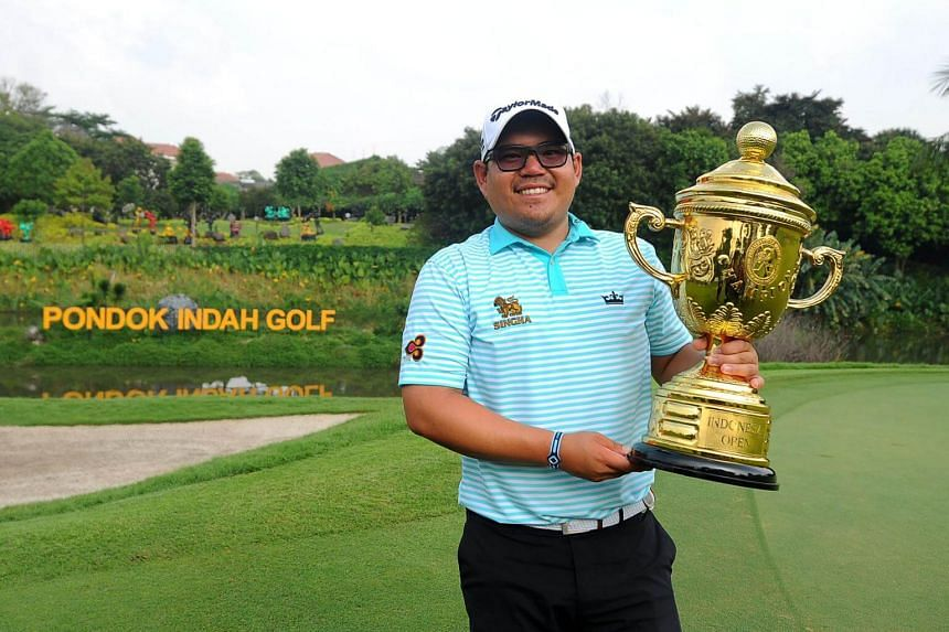 Panuphol Pittayarat of Thailand after winning the Indonesia Open 2017 at the Pondok Indah Golf Club in Jakarta on Oct 29, 2017.
