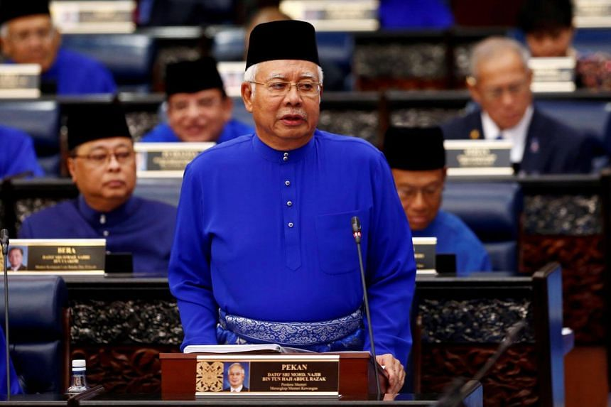 Malaysia's Prime Minister Najib Razak during the 2018 budget at the parliament house in Kuala Lumpur, Malaysia, on Oct 27, 2017.