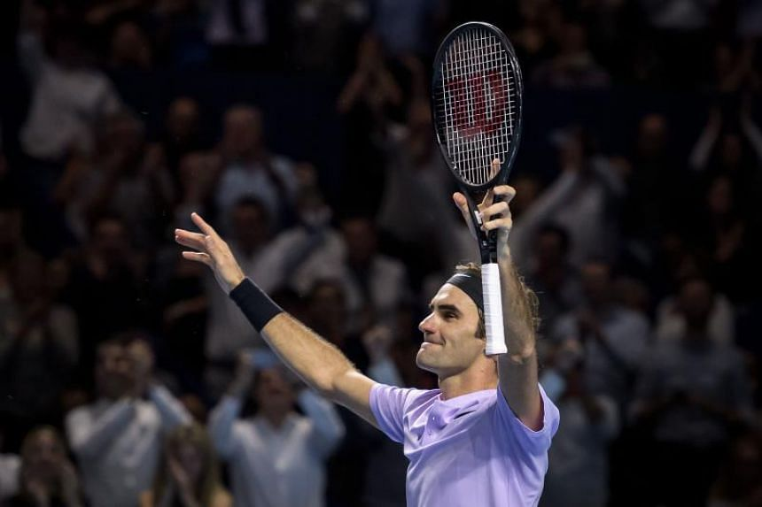 Switzerland's Roger Federer celebrates his victory against Argentina's Juan Martin Del Potro in their final game at the Swiss Indoors ATP 500 tennis tournament on Oct 29, 2017 in Basel.