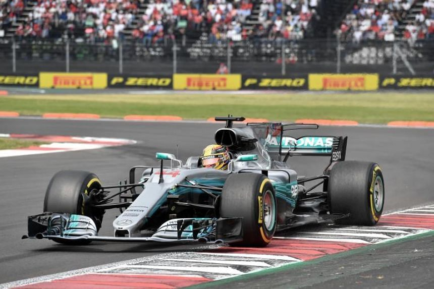 Mercedes' British driver Lewis Hamilton steers his car during the Formula One Mexico Grand Prix race at the Hermanos Rodriguez circuit in Mexico City on Oct 29, 2017.