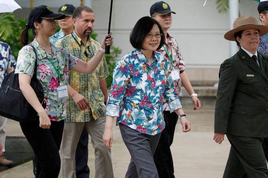Taiwan's President Tsai Ing-wen (centre) visits the USS Arizona memorial at Pearl Harbor near Honolulu, Hawaii, US while on transit enroute to Pacific island allies.
