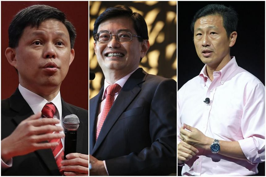 The front runners to take over from Prime Minister Lee Hsien Loong include (from left) Minister in the Prime Minister's Office Chan Chun Sing, Finance Minister Heng Swee Keat and Minister for Education (Higher Education and Skills) Ong Ye Kung.