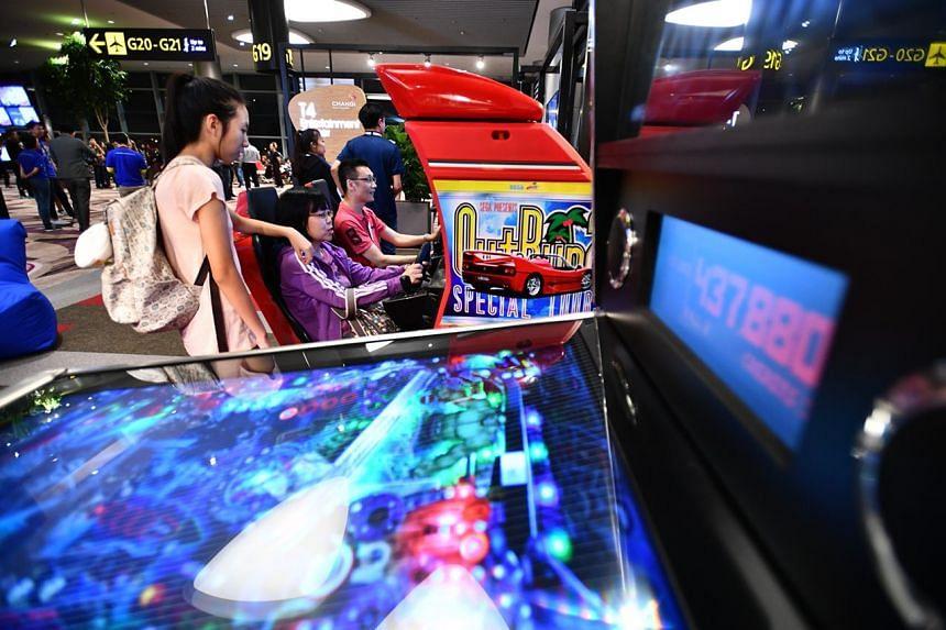 The entertainment corner of Changi Airport Terminal 4.