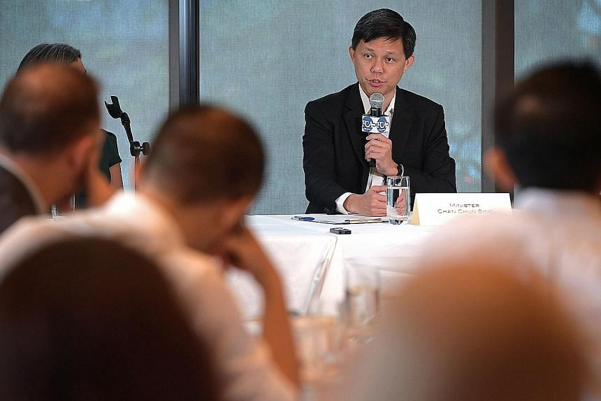Minister in the Prime Minister's Office Chan Chun Sing speaking at a dialogue with members of the Foreign Correspondents Association of Singapore yesterday. Singapore needs to have its people spend more time abroad as well as work collaboratively wit