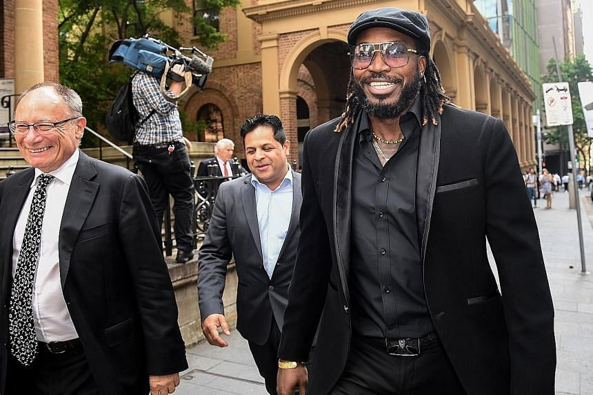Former West Indies cricket captain Chris Gayle after winning a defamation case over newspaper articles that said he exposed himself to a female massage therapist in 2015.