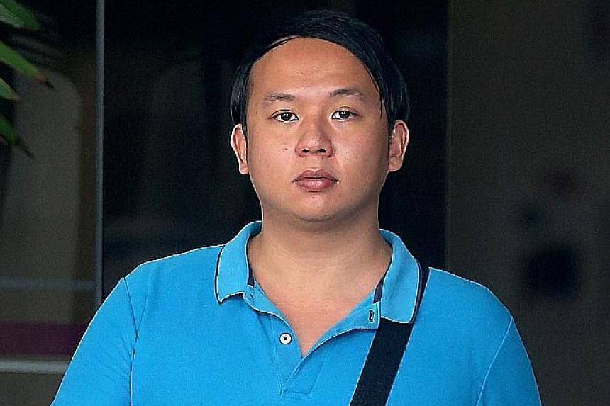 Chong Ming Kar (right) was yesterday sentenced to three years' jail and 12 strokes for robbery. He and alleged accomplice Iskandar Jantan (left) had lured the victim out to rob him. Iskandar's case is still pending.