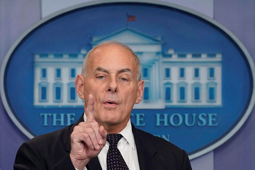 White House Chief of Staff John Kelly speaks during a daily briefing at the White House in Washington.