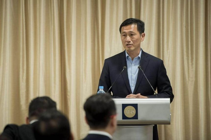 Education Minister Ong Ye Kung speaking at the launch of the financial services ITM on Oct 30, 2017.