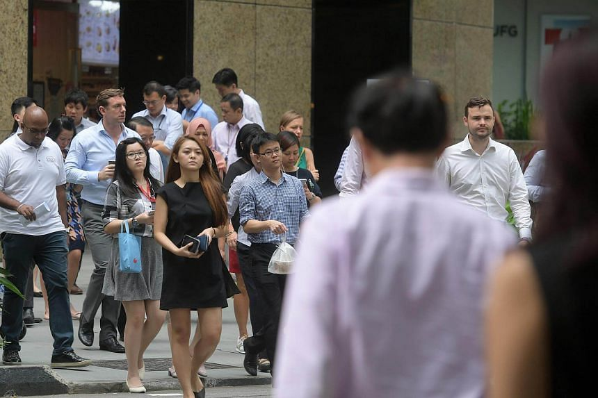 The lunch crowd in the CBD area.